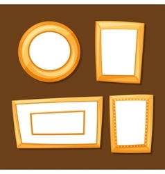 Set of gold various frames on brown background vector image