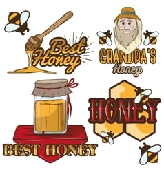 Set of honey labels beekeeping logo vector