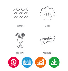 Shell waves and cocktail icons vector