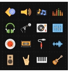 sixteen universal flat music icons vector image vector image