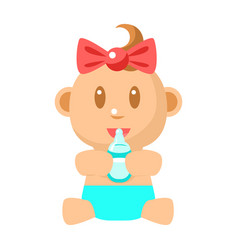 Small happy baby girl sitting holding milk bottle vector