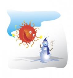 Snowman and sun vector