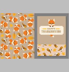 thanksgiving wild animal seamless pattern and gree vector image vector image