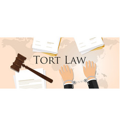 Tort law concept of justice hammer gavel judgment vector