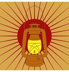 Vintage mine kerosene lamp over red sunrise rays vector