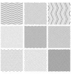Zigzag seamless pattern set zig zag black simple vector image vector image