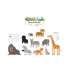 Zoo animals flat design icons set vector