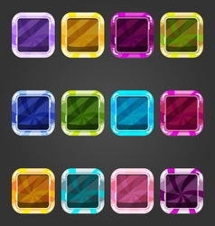 Set of shiny consave square button candy vector