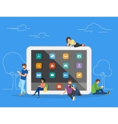 People with gadgets using tablets outdoors vector