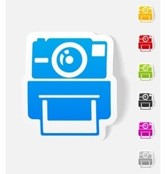 Realistic design element old photocamera vector