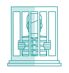 Blue silhouette shading faceless man in jail vector