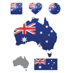 Australian flag and icons vector image