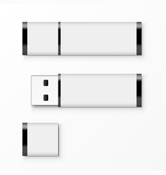 White usb flash drive template for advertising vector