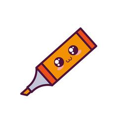 Kawaii highlighter pen icon vector