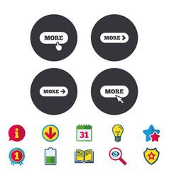 More with cursor pointer icon details symbols vector