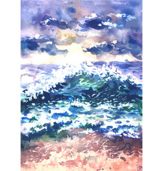 landscape with sea surf painted in vector image