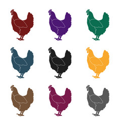 chicken icon in black style isolated on white vector image