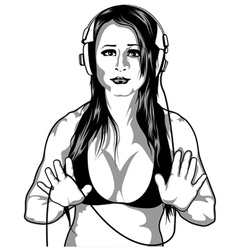 Girl with headphones vector