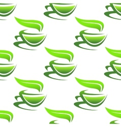 Steaming cups of green tea vector image