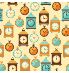 Seamless retro pattern with watches in flat style vector image