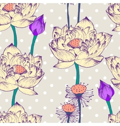 Seamless pattern with lotus flower and dots vector