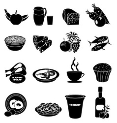 Healthy foods icons set vector