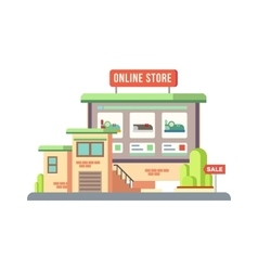 Online shop building flat design vector