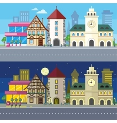 Urban city landscape of night and day vector