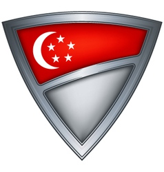 Steel shield with flag singapore vector