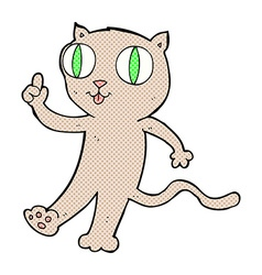 Comic cartoon cat with idea vector