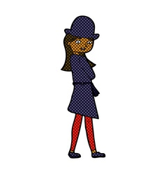 Comic cartoon female spy vector