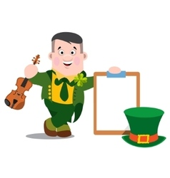 The man with a violin patrick s day vector