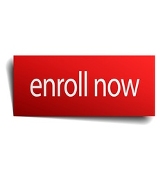 Enroll now red square isolated paper sign on white vector