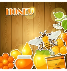 Background design with honey and bee stickers vector