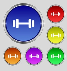 Barbell icon sign round symbol on bright colourful vector