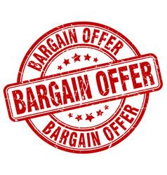 Bargain offer red grunge round vintage rubber vector