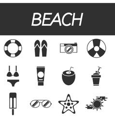 Beach icon set vector