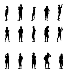 Black and White Silhouettes of People vector image vector image