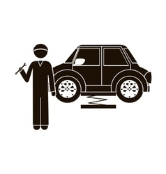 Black silhouette mechanic with spanner and car vector