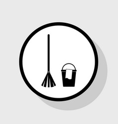 Broom and bucket sign flat black icon in vector