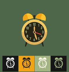 Clock icon flat on colored vector