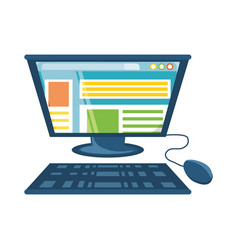computer with keyboard and mouse icon vector image