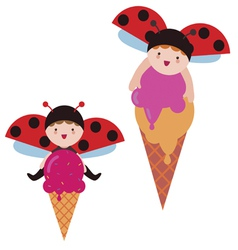 Cute ladybug babies with ice cream vector image