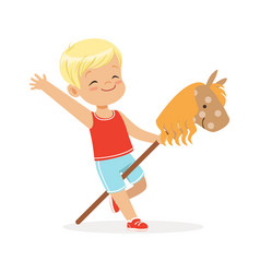 Cute smiling little boy riding on wooden stick vector