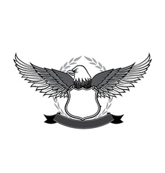 Eagle and badge symbol for logo and emblem design vector