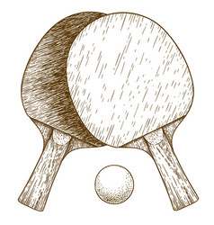 engraving of ping pong table tennis two rackets vector image vector image