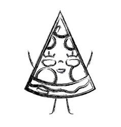 Figure kawaii cute happy slice pizza food vector