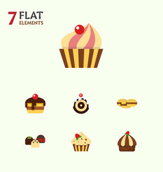 Flat cake set of cake sweetmeat biscuit and vector