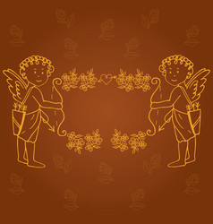 Frame with angels and flowers vector