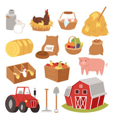 funny landscape farm tools cartoon farming house vector image